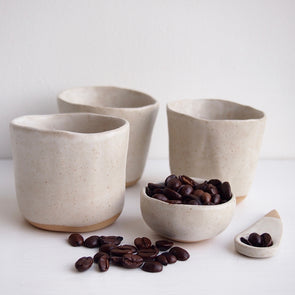 Handmade oatmeal speckled pottery expresso cups