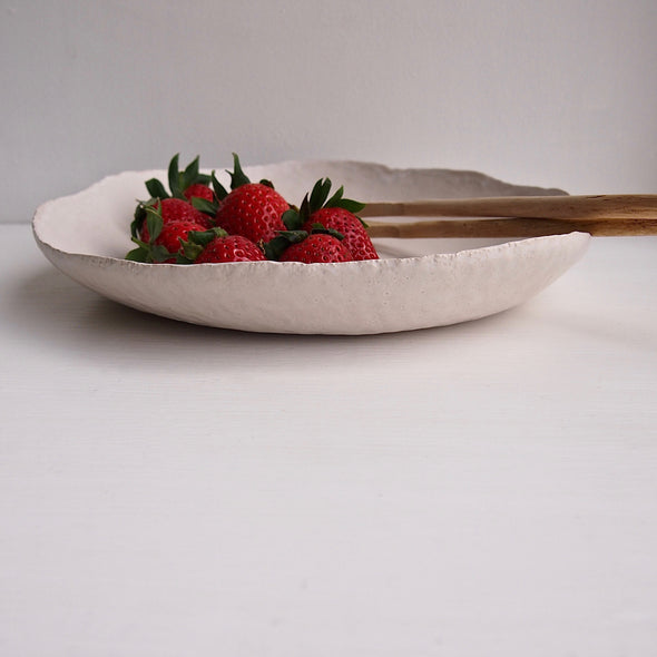 Large ceramic flat white satin textural fruit bowl
