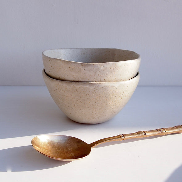Handmade oatmeal speckled  pottery cereal bowl