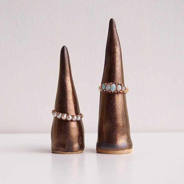 Handmade gold ceramic textural ring cone