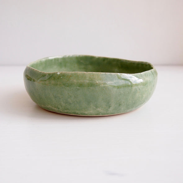 Handmade green celadon ceramic soap dish
