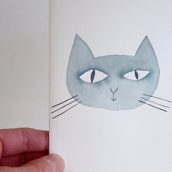 Hand painted personalised cat face greetings card