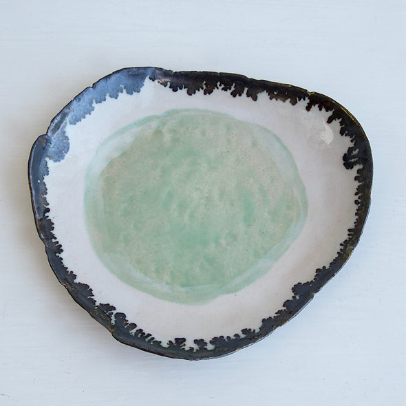 Handmade green ceramic fried egg ring dish with gold edge