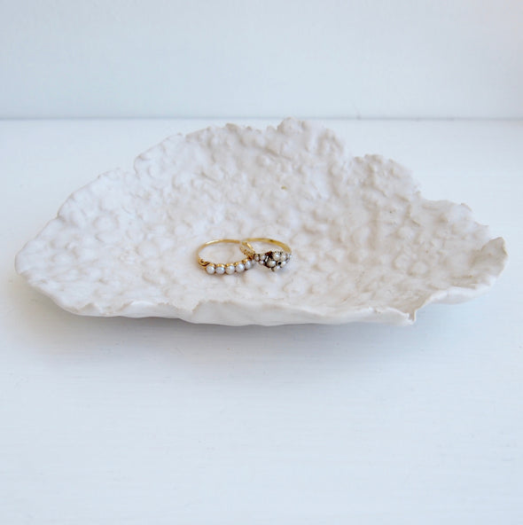 Handmade organic white ceramic shell ring dish