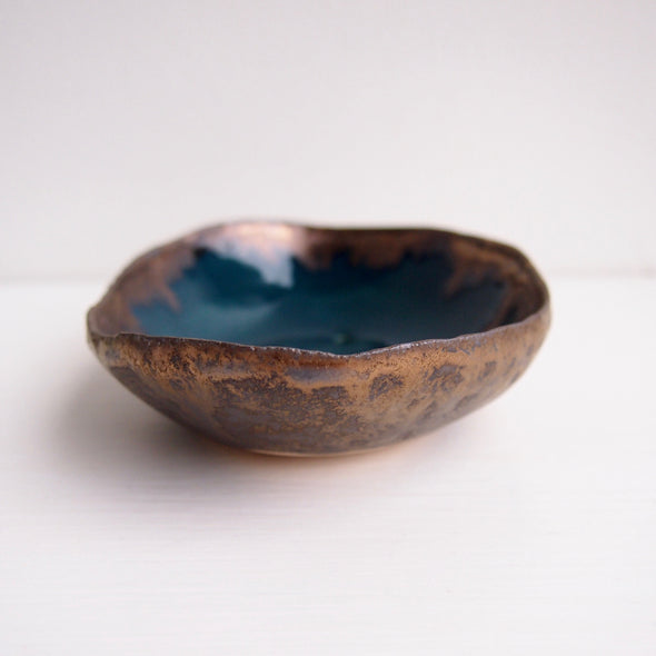 Handmade Teal blue and gold oval  ceramic soap dish