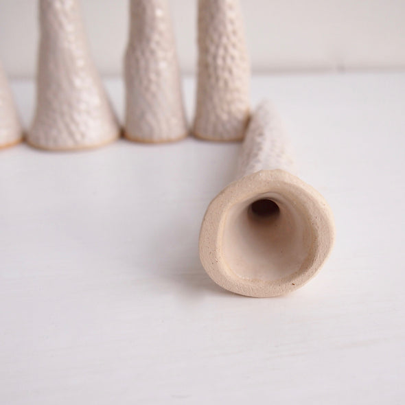 White Handmade circle texture slim ceramic ring/ earring cones