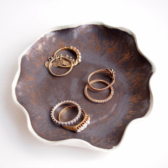 Handmade black gold ceramic jewellery display dish