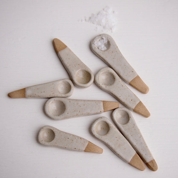 Handmade mini white ceramic salt or spice spoon