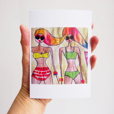 Rainbow hair girls on beach card