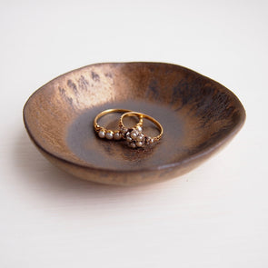 Handmade mini black gold pottery ring dish