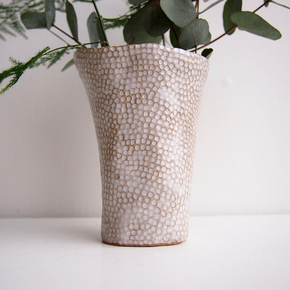 Handmade oatmeal ceramic fluted dot vase