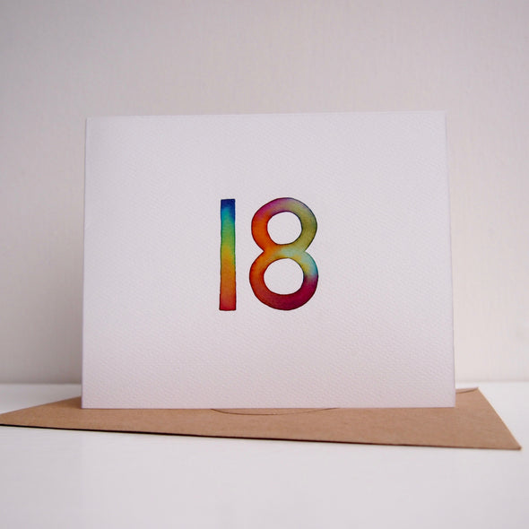 Hand painted watercolour 18th birthday/ special age card