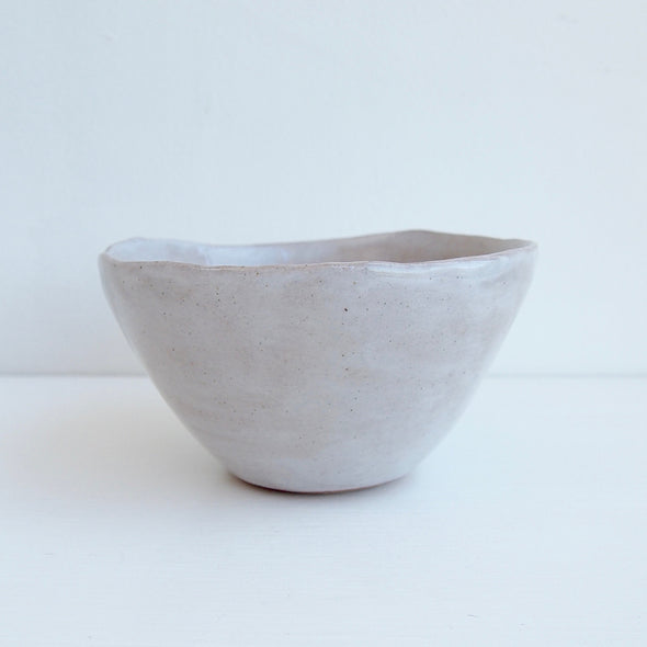 Handmade oatmeal gloss pottery cereal bowl