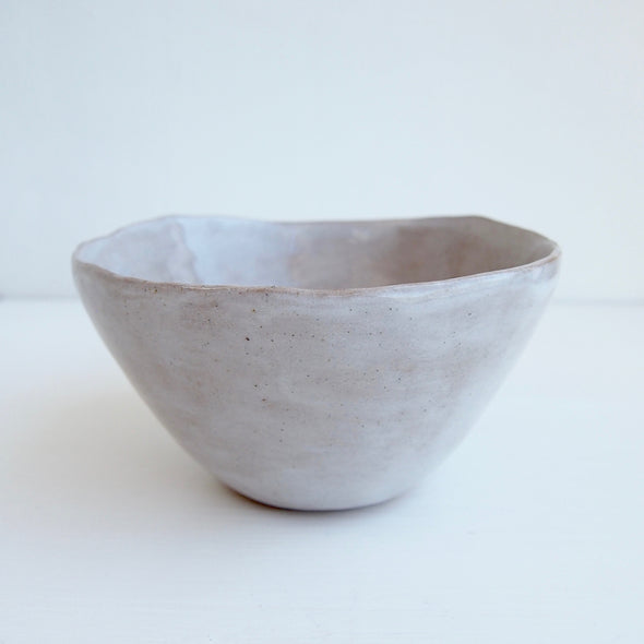 simple oatmeal pottery bowl