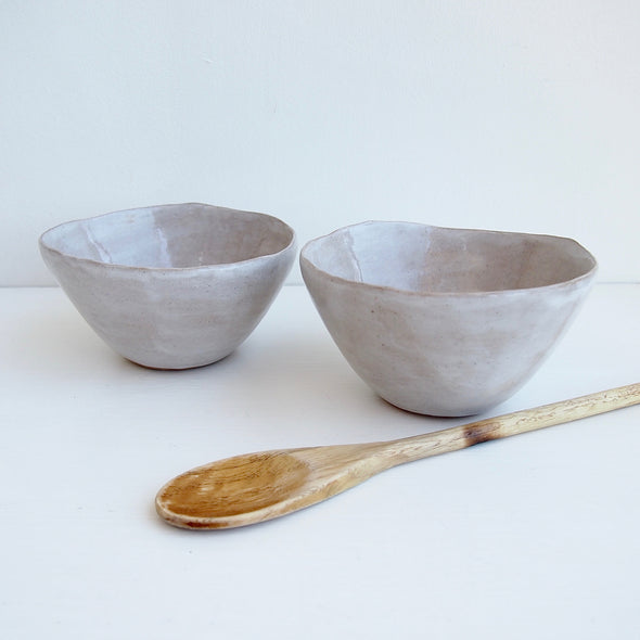Two oatmeal gloss bowls