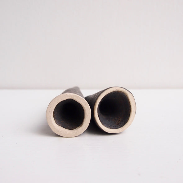 Black metallic handmade ceramic ring cones