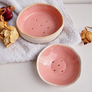 Handmade pastel pink mini ceramic soap dish