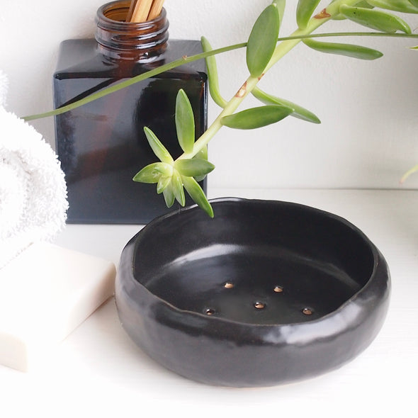 Handmade black satin ceramic soap dish