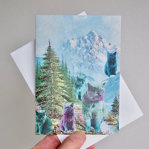 Pastel cats in the mountains birthday card