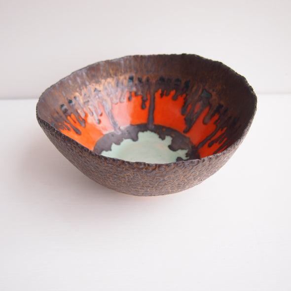 Handmade orange turquoise and gold ceramic fruit bowl