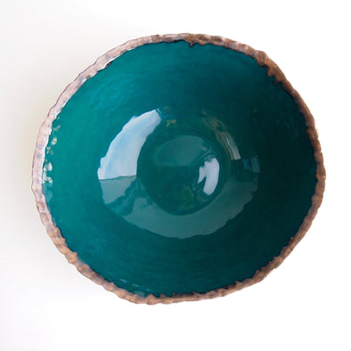 Handmade teal green and gold textural ceramic fruit bowl