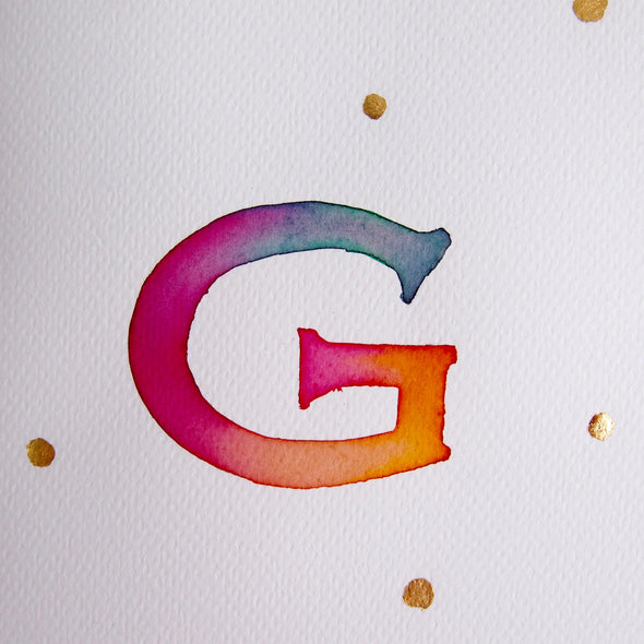 Hand painted watercolour letter card with gold leaf polka dots