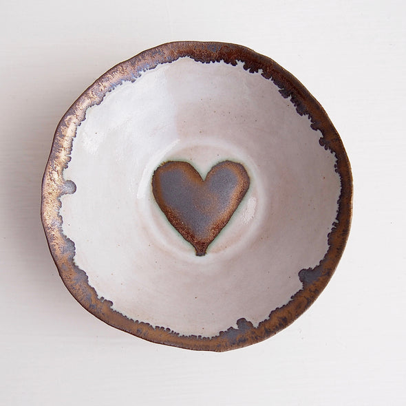 Handmade gold heart ceramic ring dish
