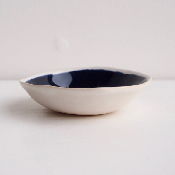 Handmade navy blue mini ceramic soap dish