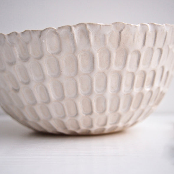 Close up texture of white gloss serving bowl