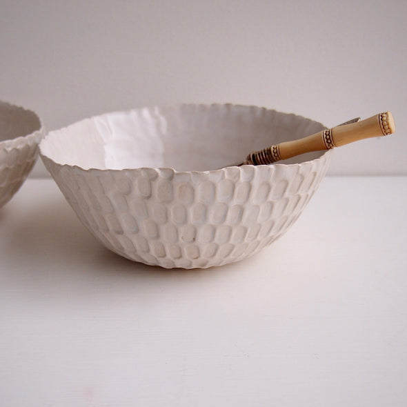 Handmade white pottery salad bowl