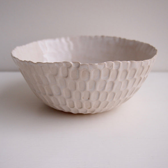 White gloss pottery serving bowl