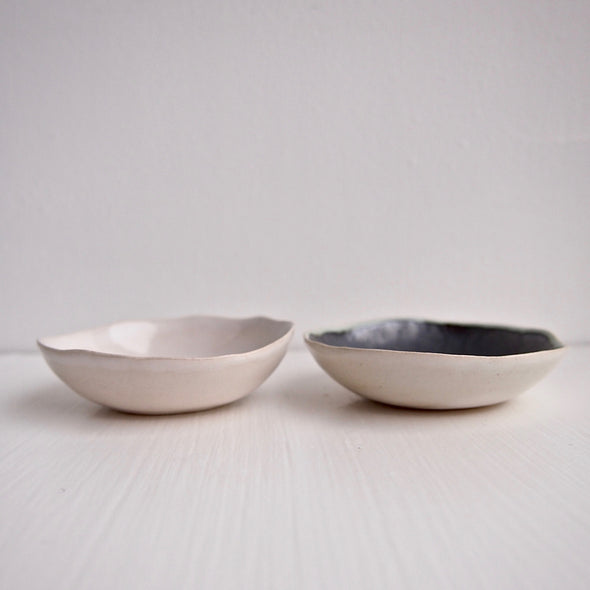 Ceramic handmade black and white salt + pepper dish