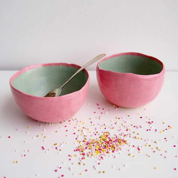 Handmade pastel pink and turquoise ice cream bowls