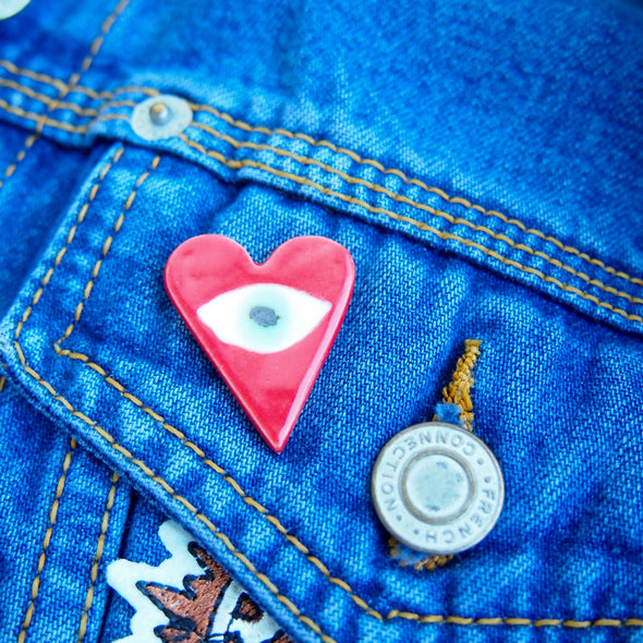 Handmade Love heart  & eye pin badge