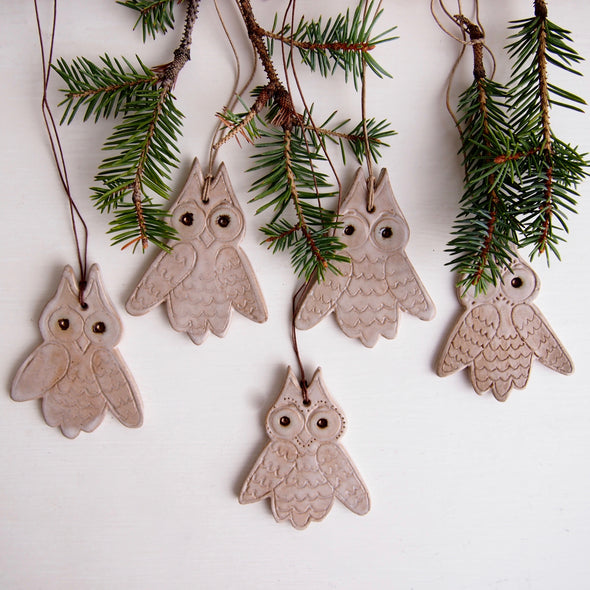 Ceramic owl  hanging ornament decoration in oatmeal