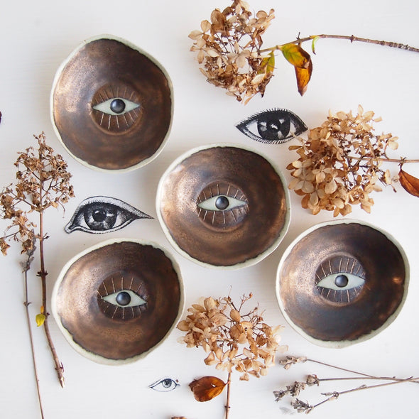 Handmade gold ceramic eye ring dish