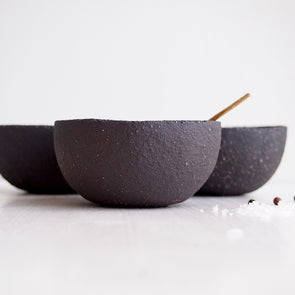 Handmade black clay pottery condiment bowl