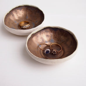 Handmade mini gold pottery ring dish