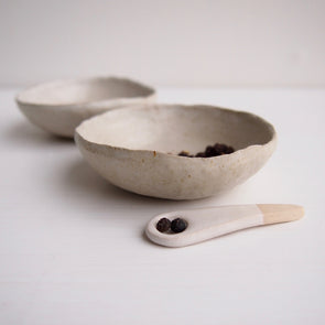 Handmade mini pottery oatmeal satin condiment bowls