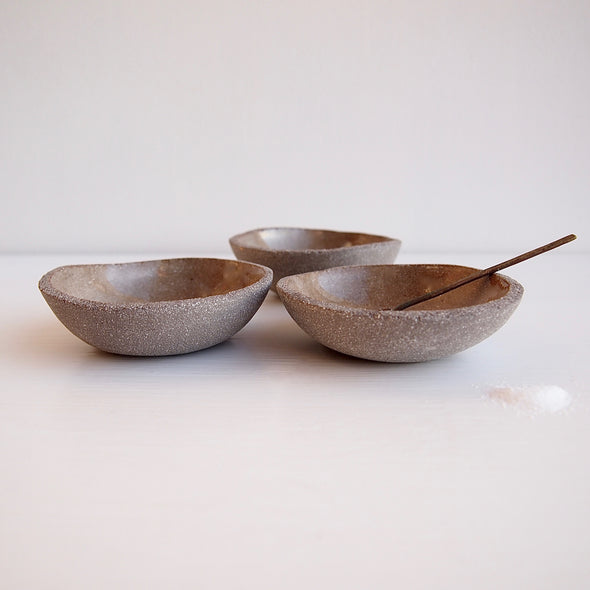 Handmade grey textural ceramic salt and pepper bowl