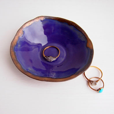 Handmade mini purple and gold ceramic ring dish