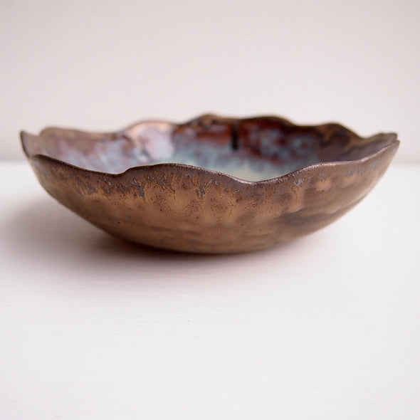 Handmade  decorative jewellery blue/brown bowl