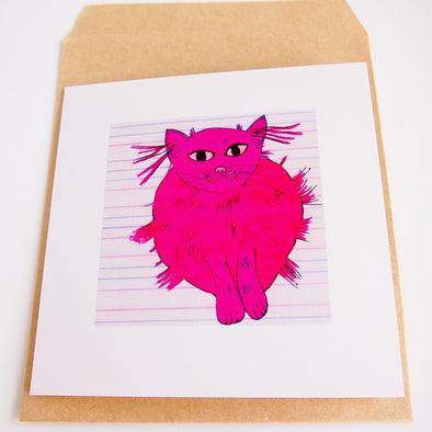 Pink cat illustrated greetings card + envelope  at Kabinshop