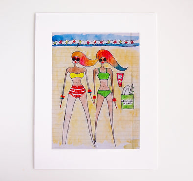 Rainbow hair beach girls giclee print with wholefoods bag at Kabinshop .
