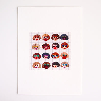 Giclee print of 16 girls with Bob Hairstyles at Kabinshop .