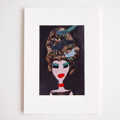 Girl with birds nest hair illustration giclee print .