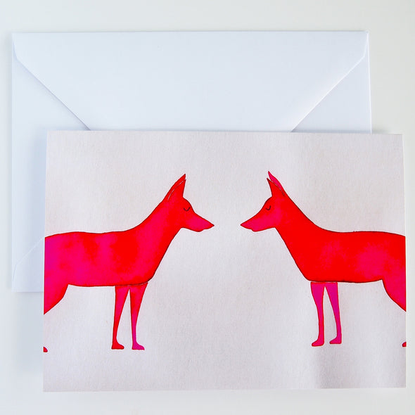 Pink Neon fox watercolour illustration  animal greetings card at Kabinshop .