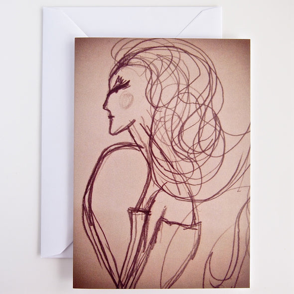 Sepia girl fashion illustration greetings card with envelope .