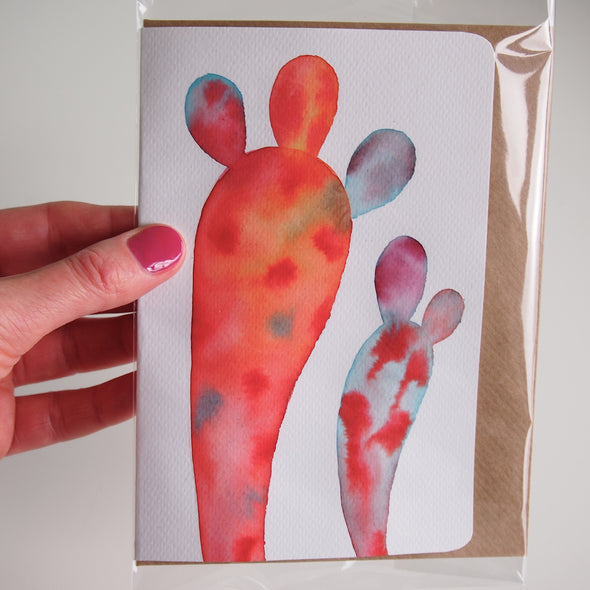 Pink rainbow cactus watercolour card