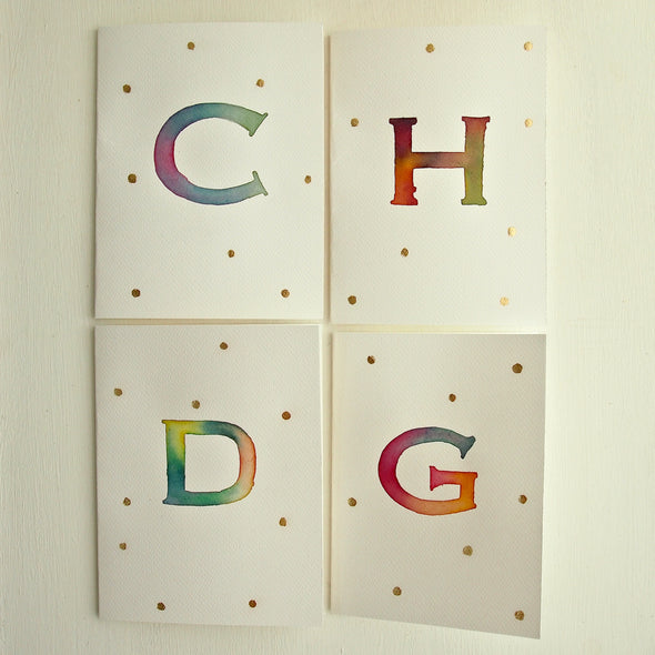 initials watercolour card